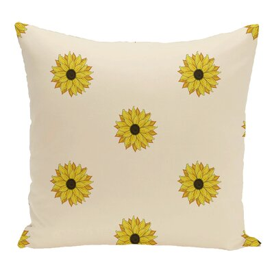 Vieux Sunflower Frenzy Flower Print Throw Pillow  Color: Off White