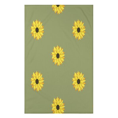 Vieux Sunflower Frenzy Flower Print Throw Blanket Size: 50 H x 60 W x 0.5 D, Color: Green