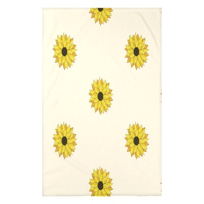 Vieux Sunflower Frenzy Flower Print Throw Blanket Size: 50 H x 60 W x 0.5 D, Color: Cream