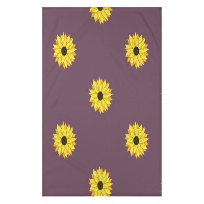 Vieux Sunflower Frenzy Flower Print Throw Blanket Size: 50 H x 60 W x 0.5 D, Color: Purple
