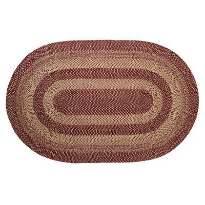 Chugwater Burgundy / Tan Area Rug Rug Size: Oval 5 x 8