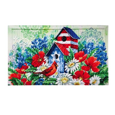 Ferrand Patriotic Birdhouse and Cardinal Embossed Doormat