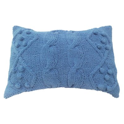 Dimont Twisted Cable Knit Cotton Lumbar Pillow Color: Blue