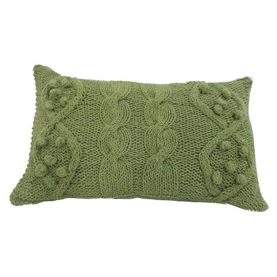 Dimont Twisted Cable Knit Cotton Lumbar Pillow Color: Green