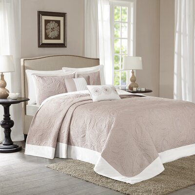 Mikayla 5 Piece Bedspread Set Color: Khaki, Size: Queen