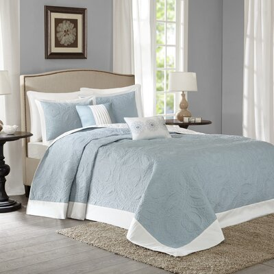 Mikayla 5 Piece Bedspread Set Size: King, Color: Blue