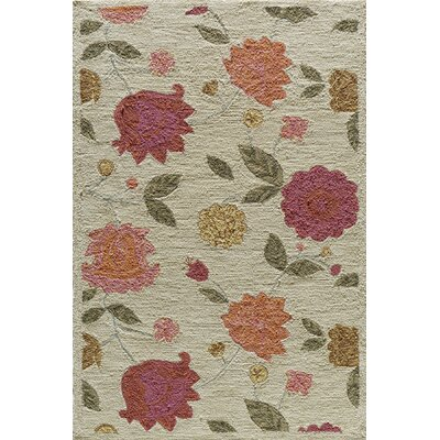 Rose Hand-Woven Oatmeal Area Rug Rug Size: Rectangle 36 x 56