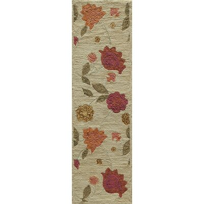 Rose Hand-Woven Oatmeal Area Rug Rug Size: Runner 23 x 76