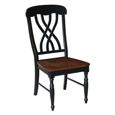Anselme Solid Wood Dining Chair Color: Aged Ebony/Espresso