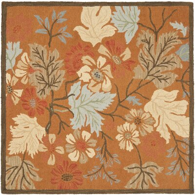 Ginger Orange Area Rug Rug Size: Square 6
