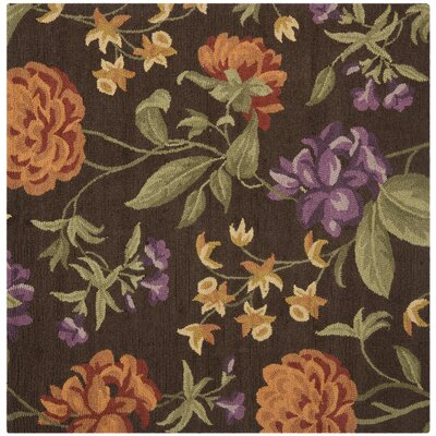 Ginger Brown Floral Area Rug Rug Size: Square 6