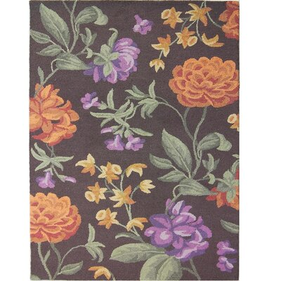 Ginger Brown Floral Area Rug Rug Size: Rectangle 8 x 10