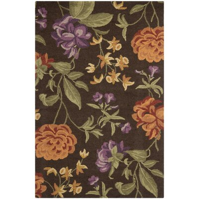 Ginger Brown Floral Area Rug Rug Size: Rectangle 4 x 6