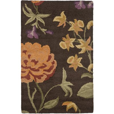 Ginger Brown Floral Area Rug Rug Size: Rectangle 26 x 4