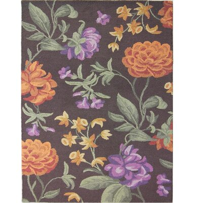 Ginger Brown Floral Area Rug Rug Size: 8 x 10