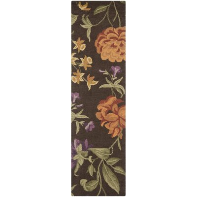 Ginger Brown Floral Area Rug Rug Size: Runner 23 x 8