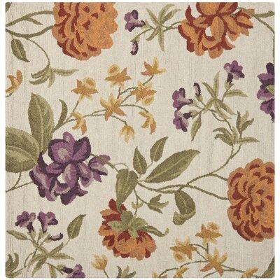 Ginger Ivory Floral Area Rug Rug Size: Square 6