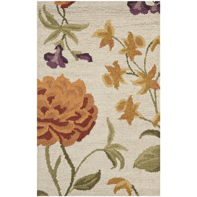 Ginger Ivory Floral Area Rug Rug Size: Rectangle 26 x 4