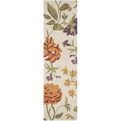 Ginger Ivory Floral Area Rug Rug Size: Runner 23 x 8