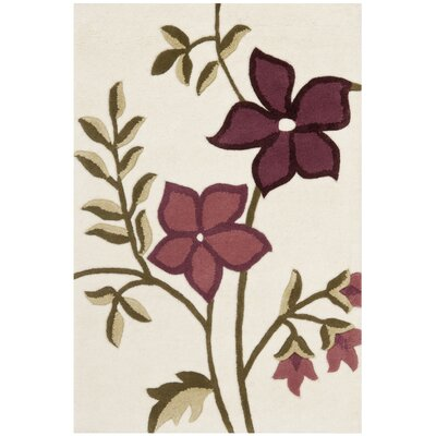 Fermont Ivory / Purple Area Rug Rug Size: Rectangle 2 x 3