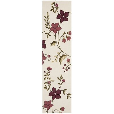 Fermont Ivory / Purple Area Rug Rug Size: Runner 23 x 9