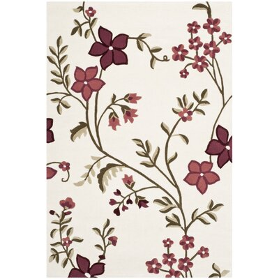 Fermont Ivory / Purple Area Rug Rug Size: 3 x 5