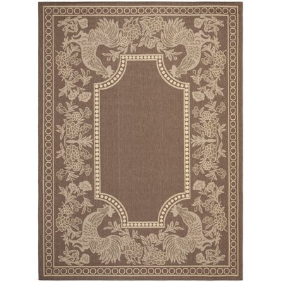 Margo Chocolate/Natural Indoor/Outdoor Area Rug Rug Size: Rectangle 53 x 77