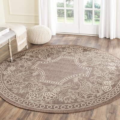 Margo Chocolate/Natural Indoor/Outdoor Area Rug Rug Size: Round 67