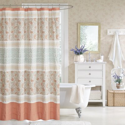 Chambery Cotton Shower Curtain Color: Coral