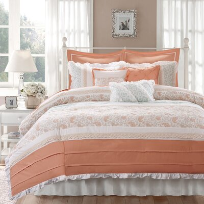 Chambery 9 Piece Duvet Set Size: Queen, Color: Coral