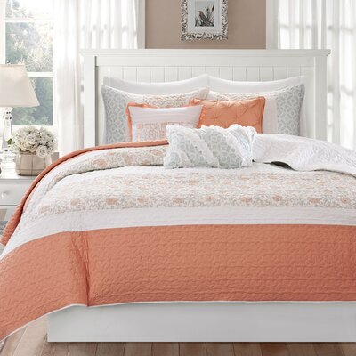 Chambery 6 Piece Quilted Coverlet Set Size: King/California King, Color: Coral