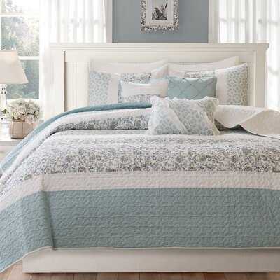Chambery 6 Piece Coverlet Set Size: King/California King, Color: Blue