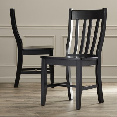 Toby Traditional Solid Wood Dining Chair Color: Black