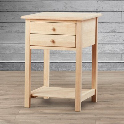 Imogene Wood 2 Drawer End Table