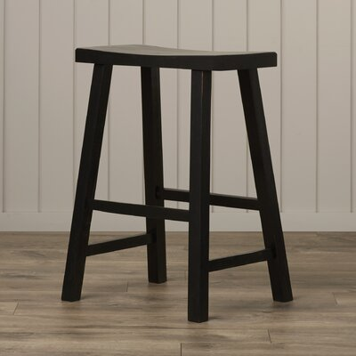 Toby 24 Backless Wood Bar Stool Color: Distressed Black