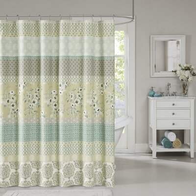Tappen Cotton Shower Curtain Color: Green