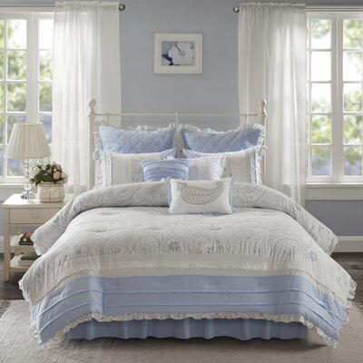Preston 9 Piece Comforter Set Size: King, Color: Blue