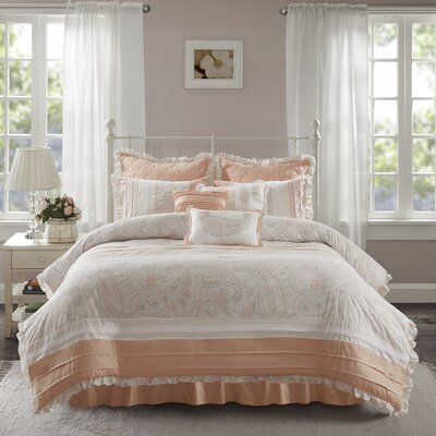 Preston 9 Piece Duvet Cover Set Size: King, Color: Pink