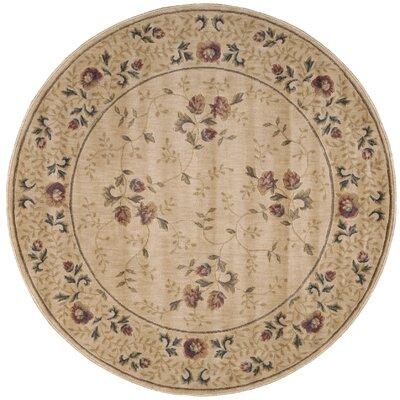 Sharon Taupe/Burgundy Area Rug Rug Size: Round 56