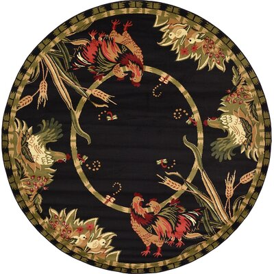 Andersonville Black Area Rug Rug Size: Round 8