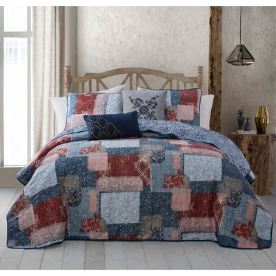 Billie 5 Piece Quilt Set Size: Queen, Color: Red