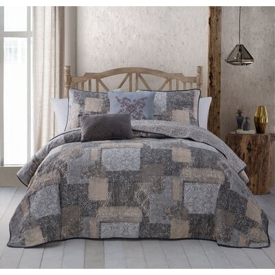 Billie 5 Piece Quilt Set Size: Queen, Color: Taupe