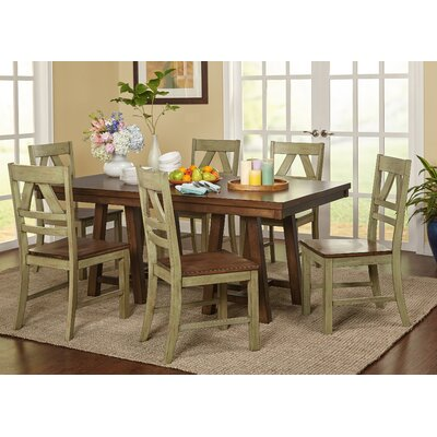 Castleford 7 Piece Dining Set Finish: Antique Green / Oak