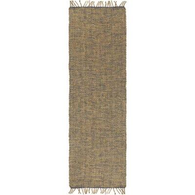 Adelia Hand-Woven Navy/Khaki Area Rug Rug size: Runner 26 x 8