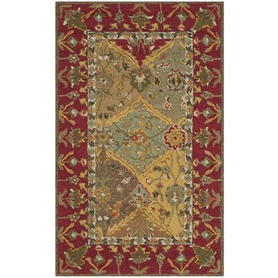 Talmo Hand-Hooked Red/Brown Area Rug Rug Size: 4 x 6