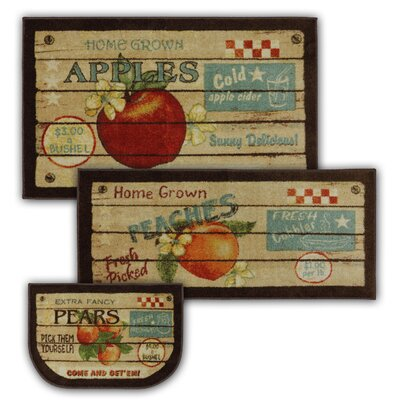 Corrine 3 Piece Fruit Crate Kitchen Mat Set