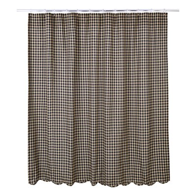 Addie Scalloped Cotton Shower Curtain Color: Burgundy