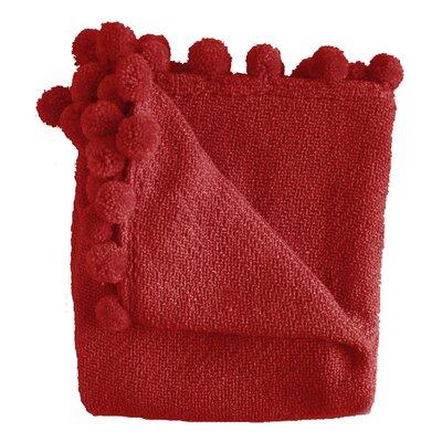 Paloma Pom Pom Fringe Throw Color: Red