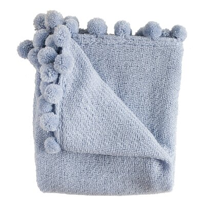 Paloma Pom Pom Fringe Throw Color: Blue