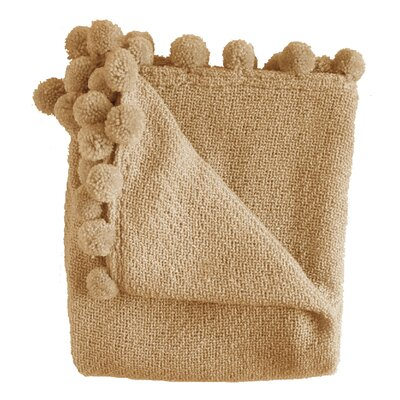Paloma Pom Pom Fringe Throw Color: Camel
